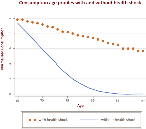 consumption age profiles with without health shocks